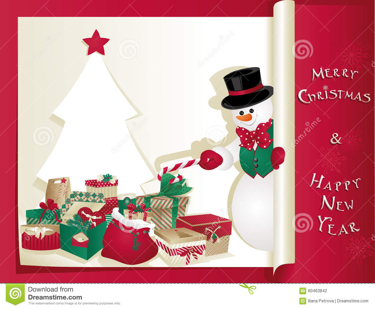 Christmas Card With Snowman Stock Vector - Image: 60463842