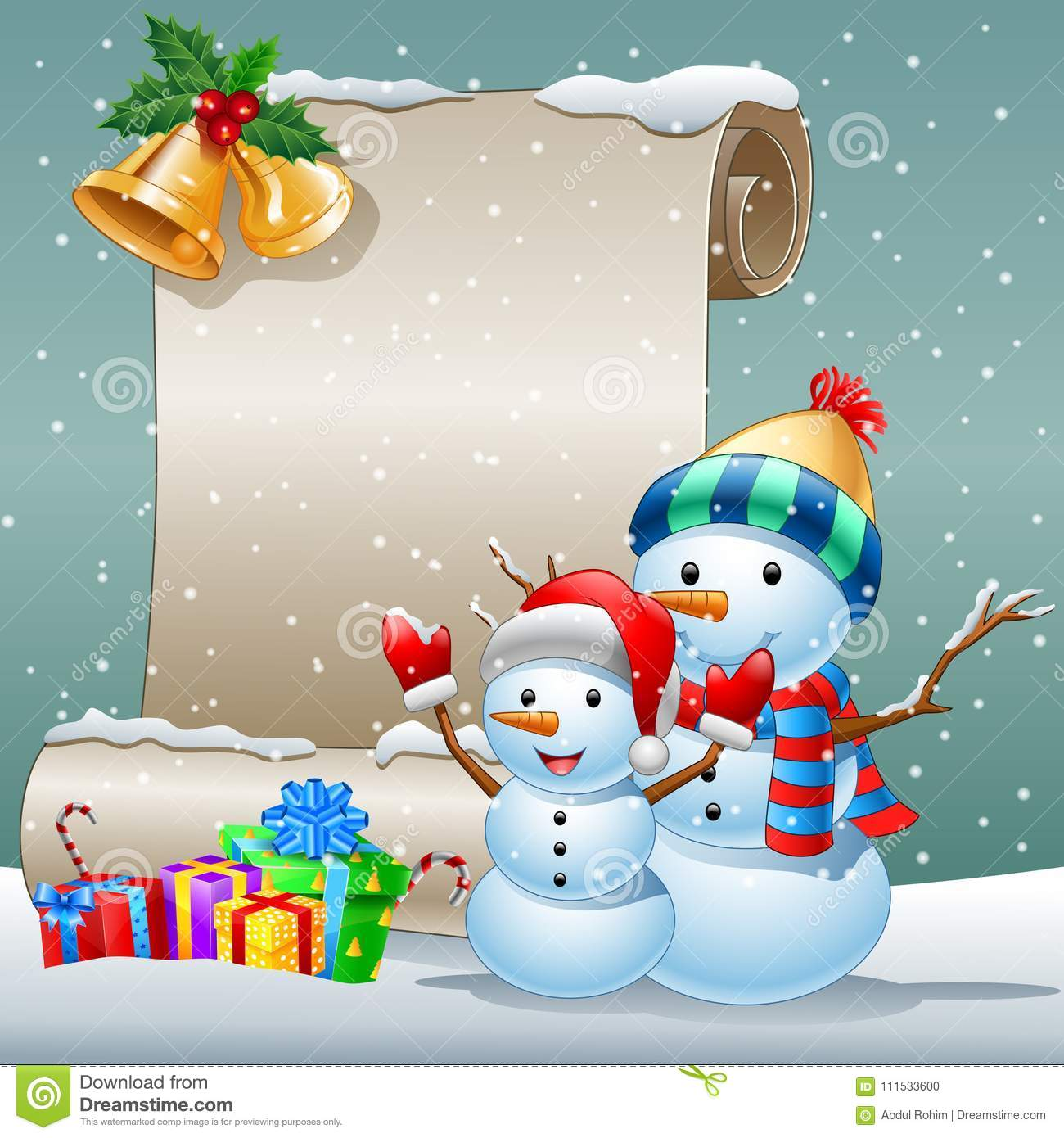 Christmas Card With A Snowman And Gift Boxes On Winter Background