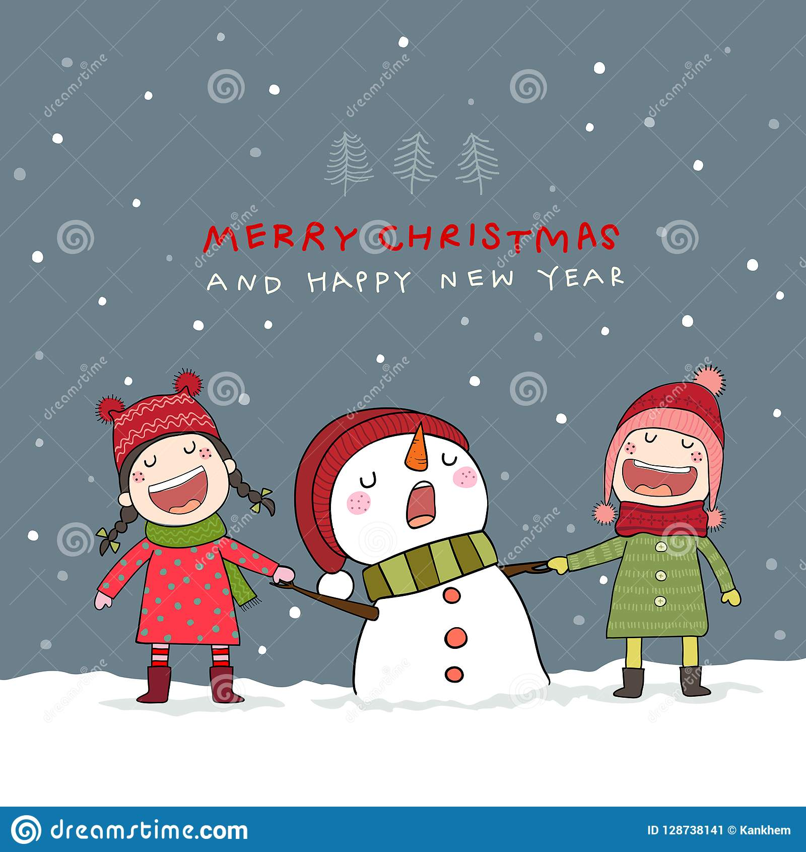 31bd5b403050 Christmas Card With Snowman And Kids In Christmas Snow Scene. Stock ...