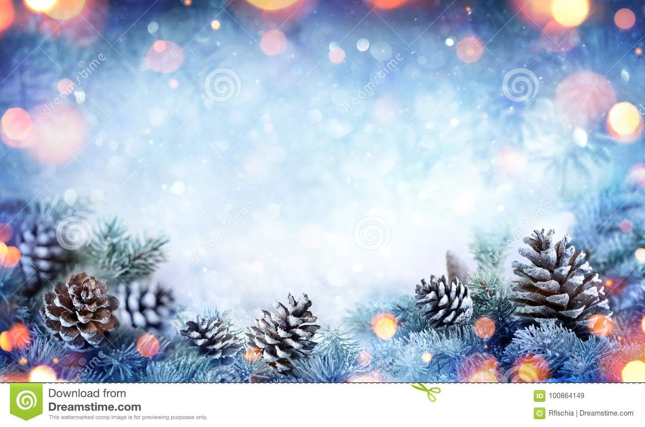 Christmas Card - Snowy Fir Branch With Pine Cones