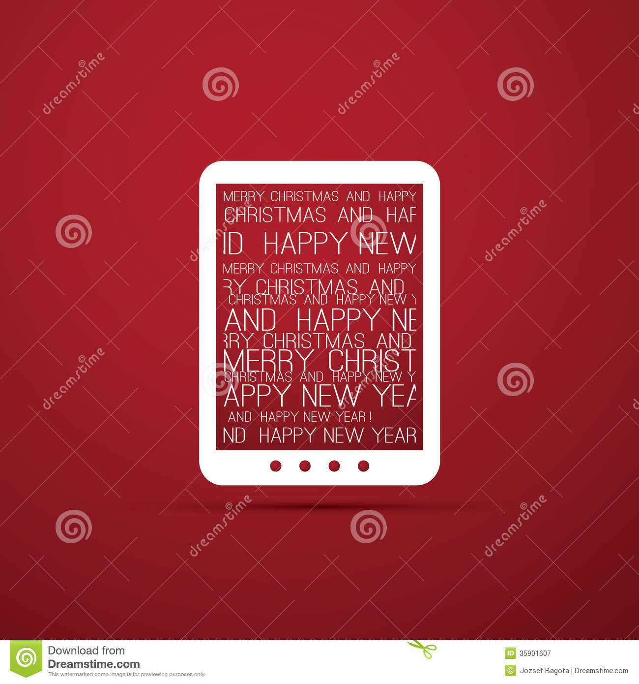 Christmas Card With Tablet E Book Reader Royalty Free