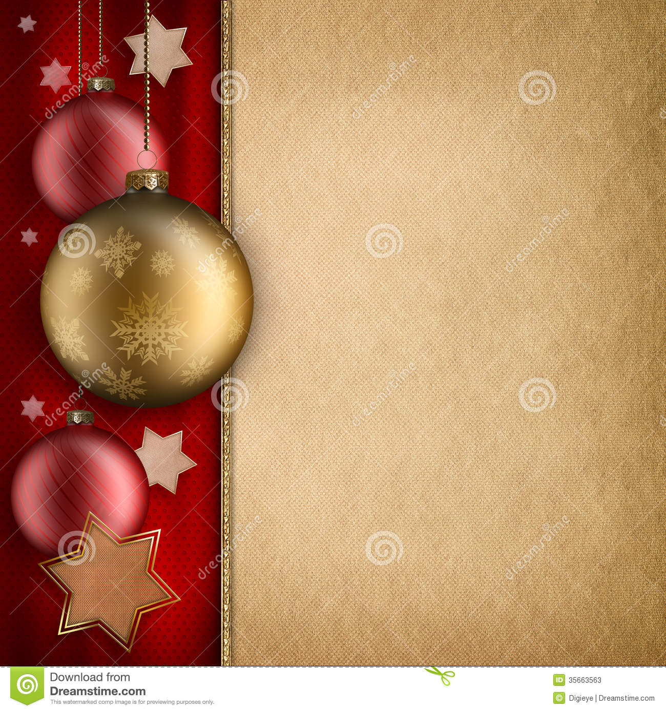 Christmas Card Template Baulbles And Stars Stock
