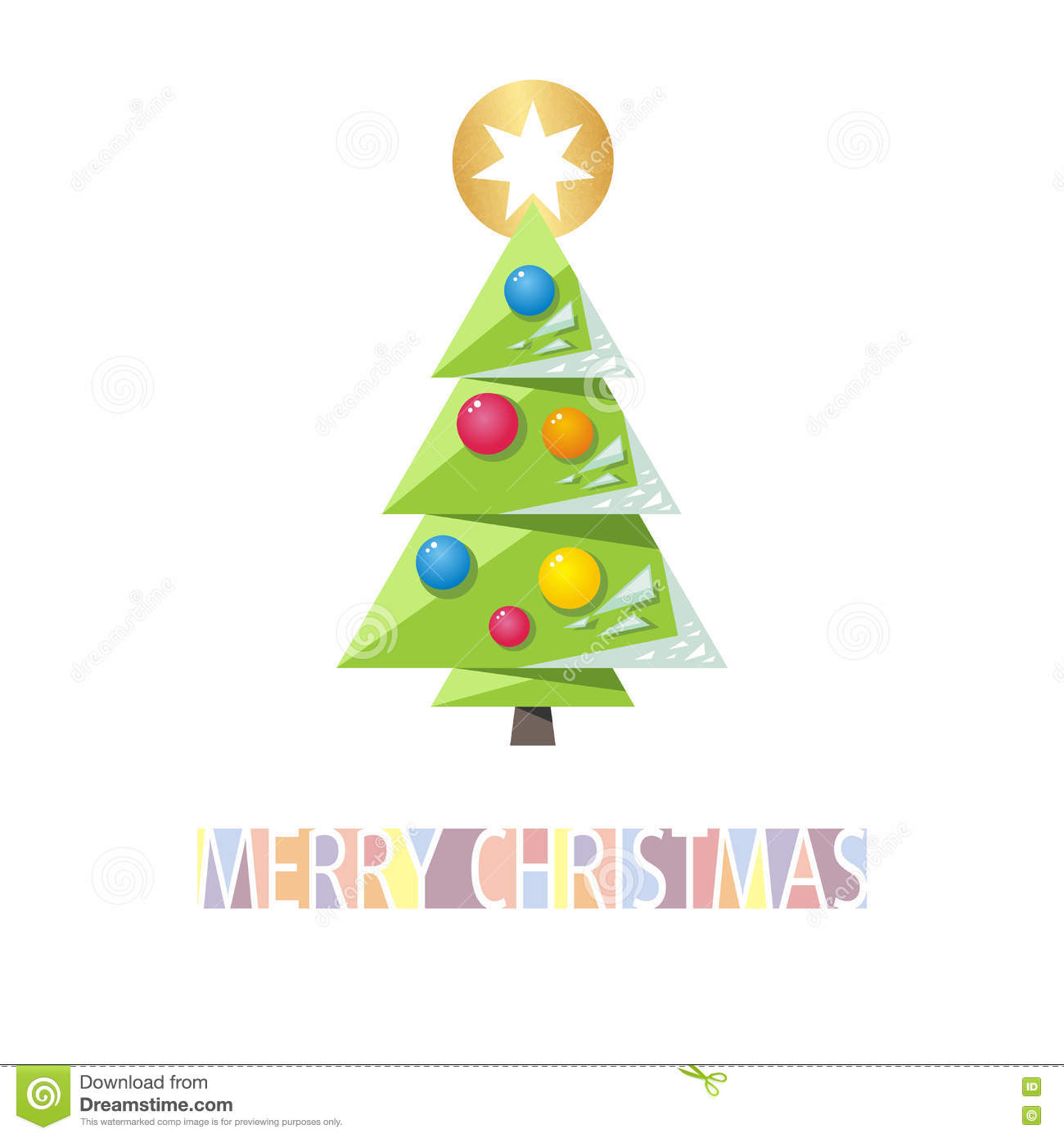 christmas card template with green christmas tree decorations a