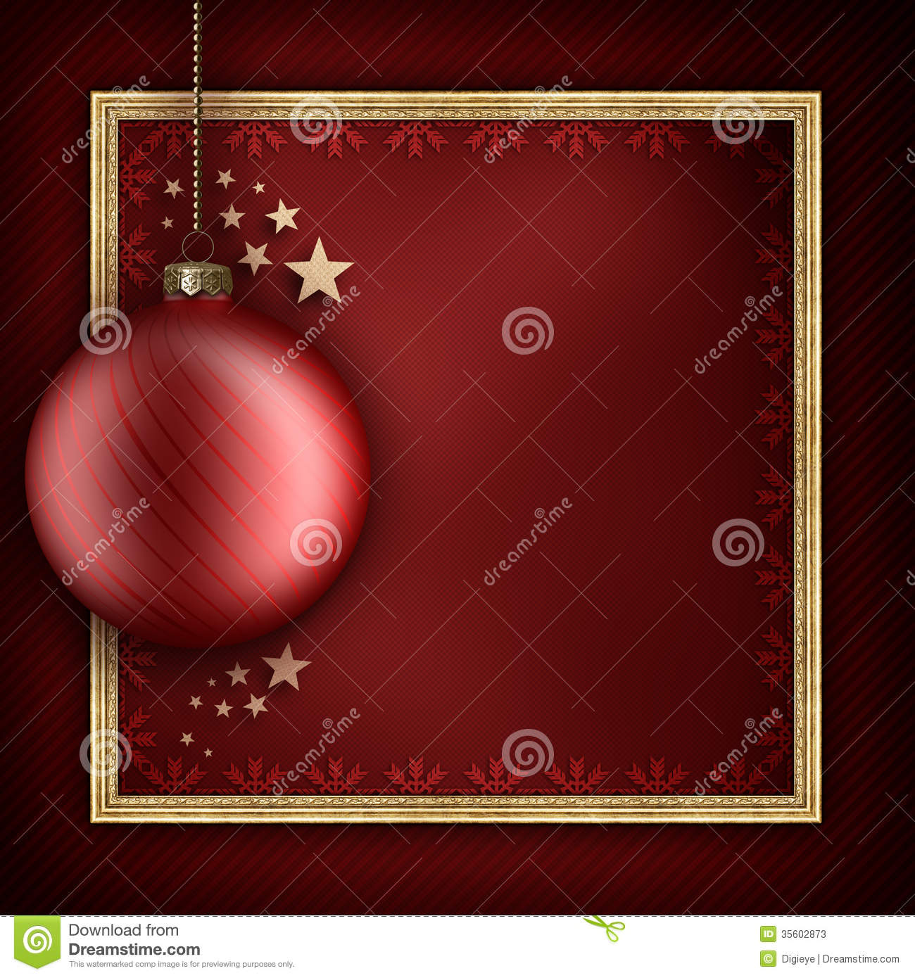 Christmas card template - red xmas bauble, stars and picture frame.
