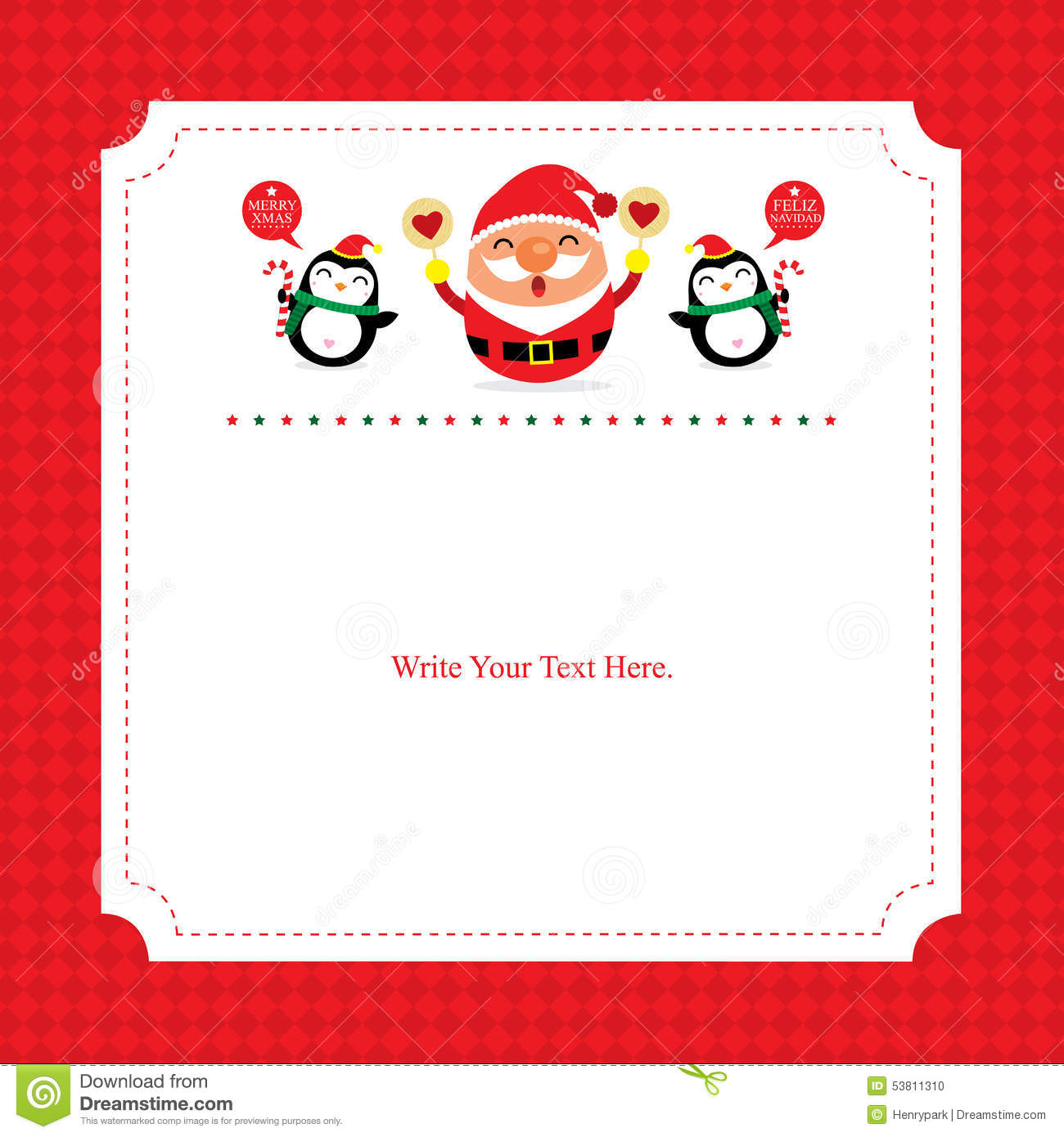 christmas card template with santa claus