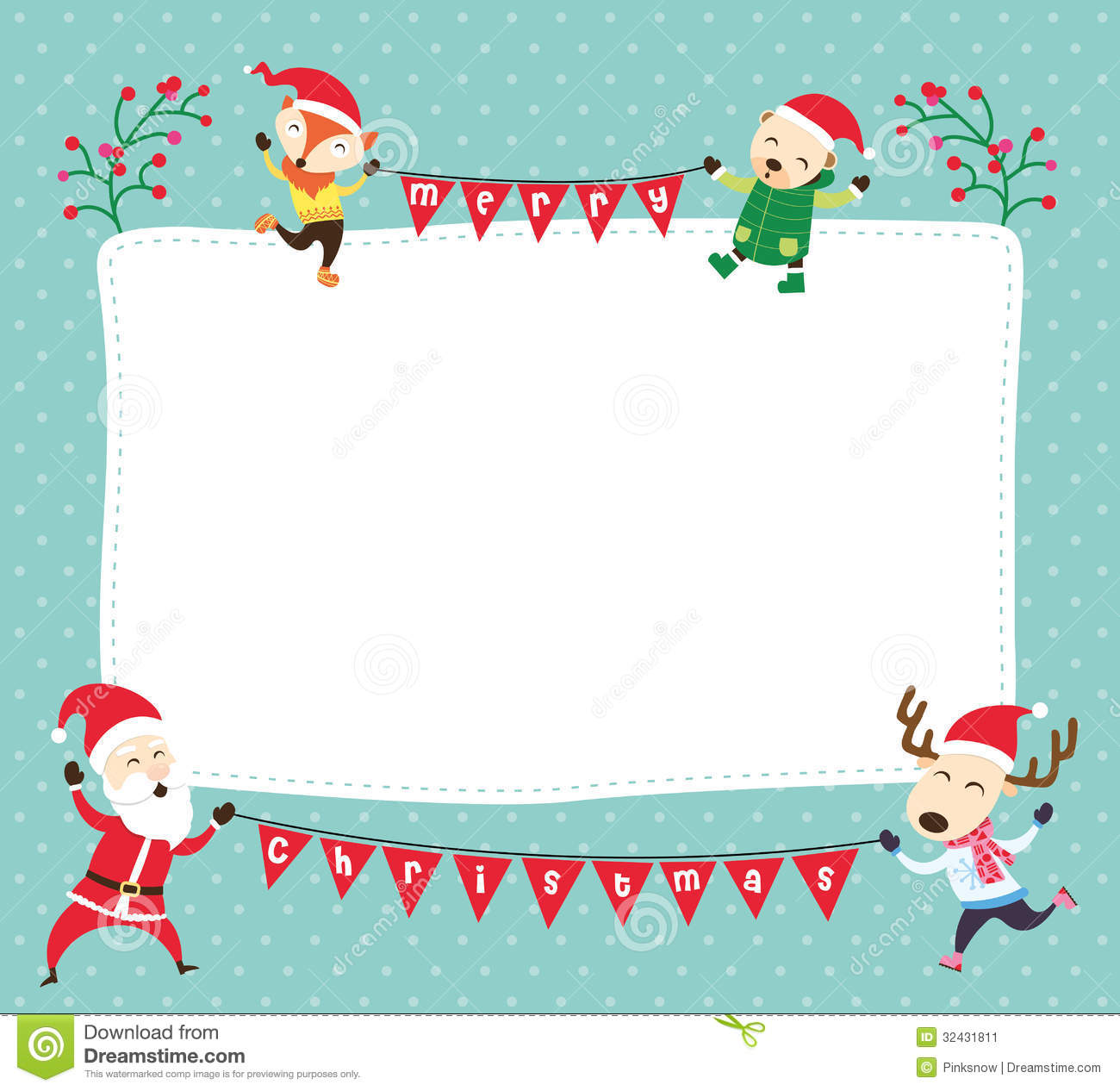 christmas card template with santa claus and friends
