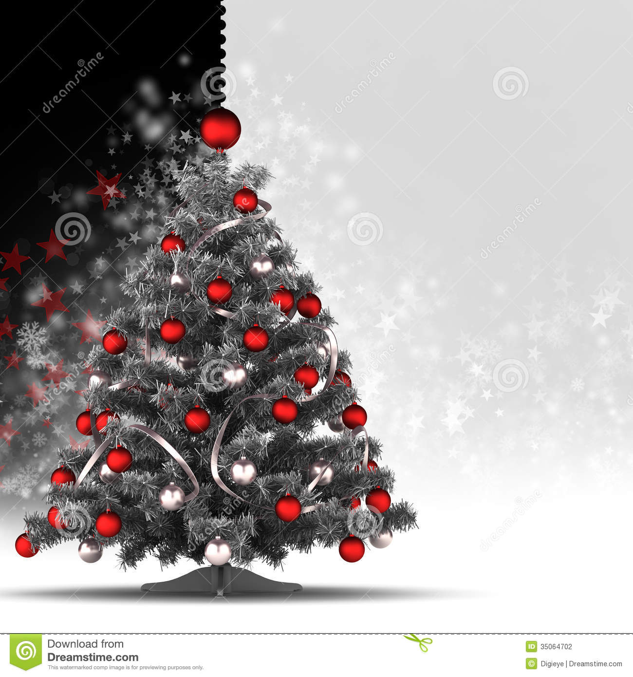 Christmas card template xmas tree on black and white background