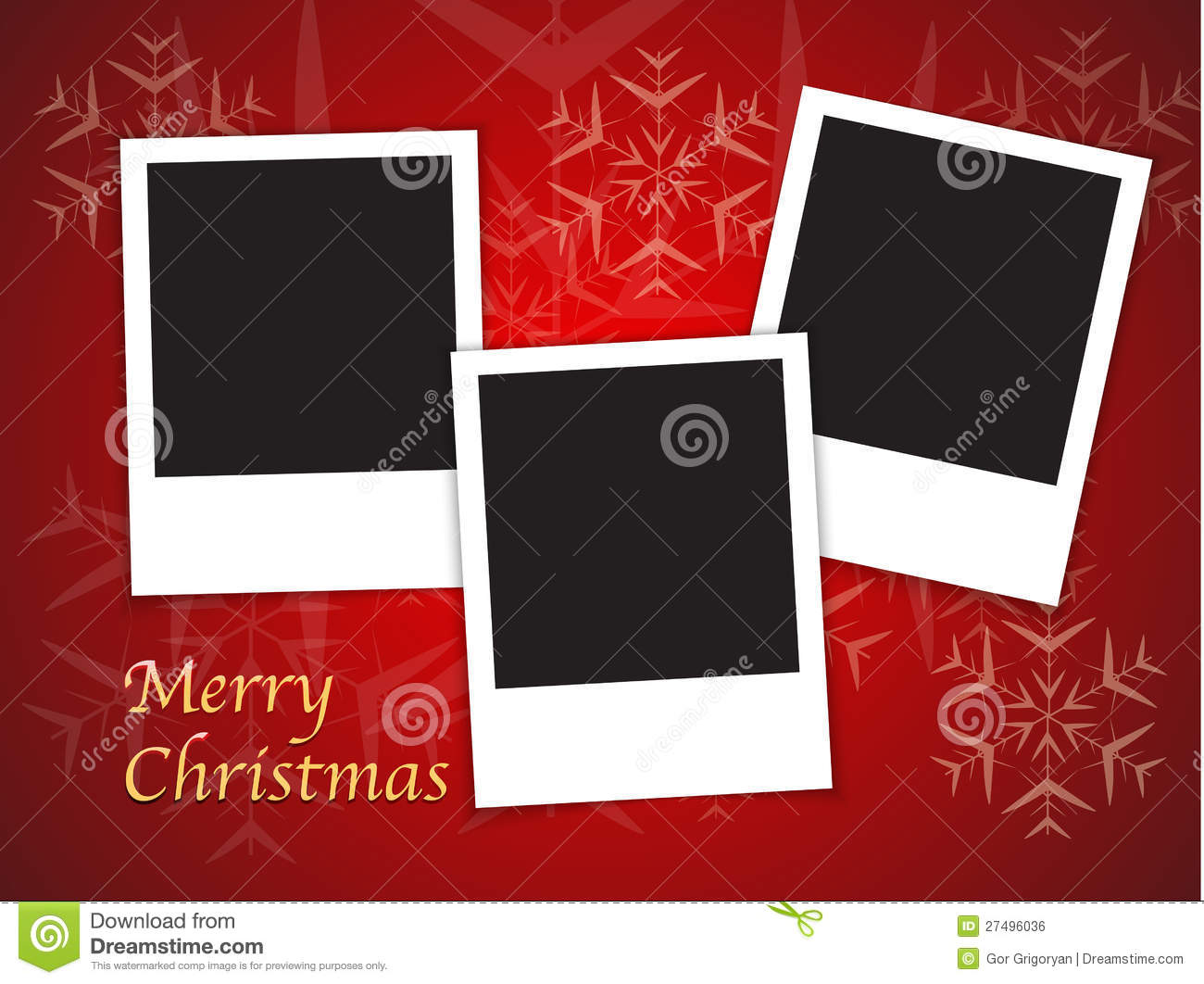 Christmas card templates with blank photo frames stock for Free christmas card templates for photographers