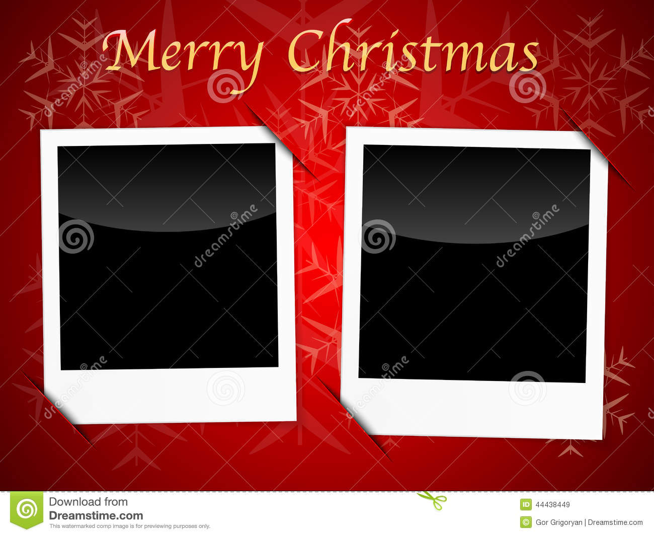 christmas card templates on red snowflake background stock