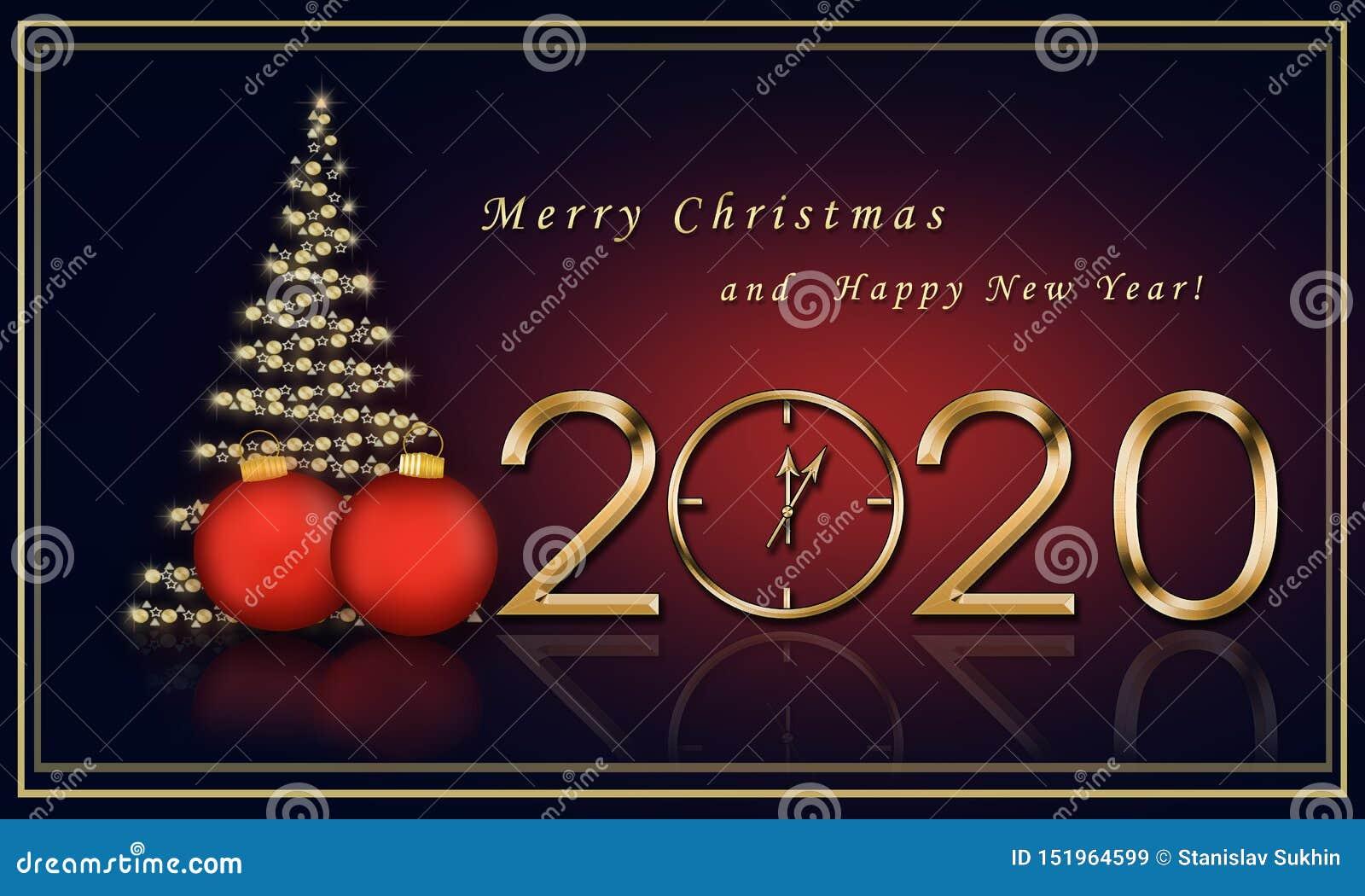 Christmas Card 2020 With A Christmas Tree Stock ...