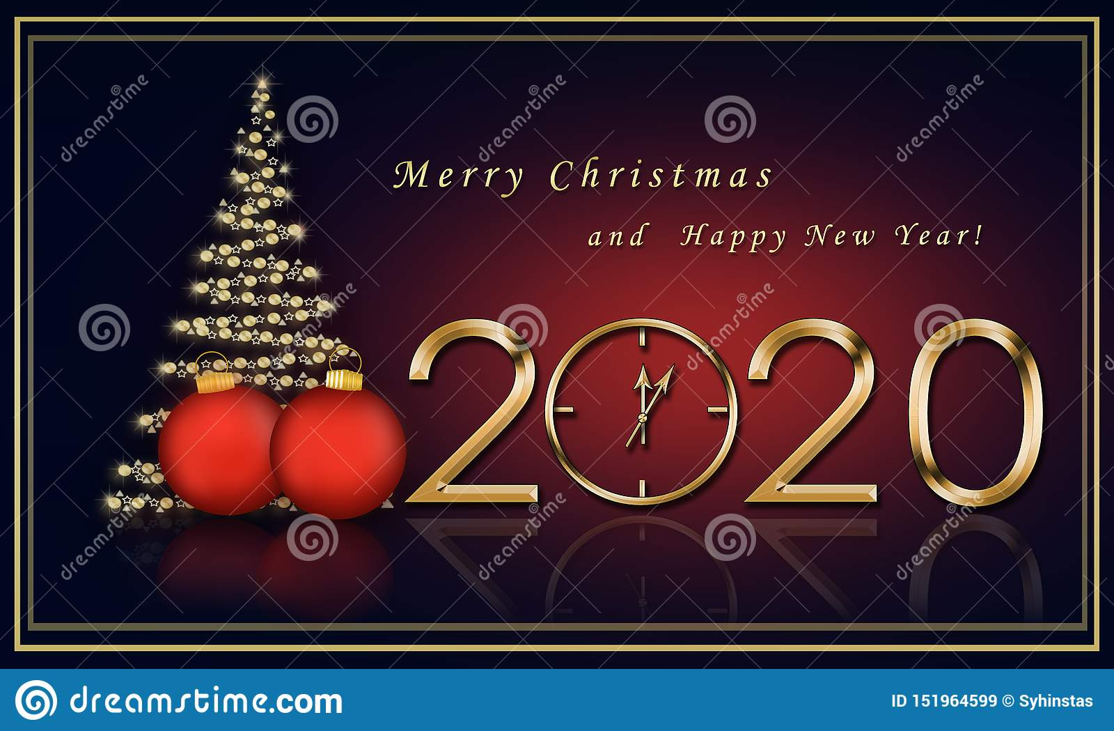 Christmas Card Images 2020 Christmas Card 2020 With A Christmas Tree Stock Illustration