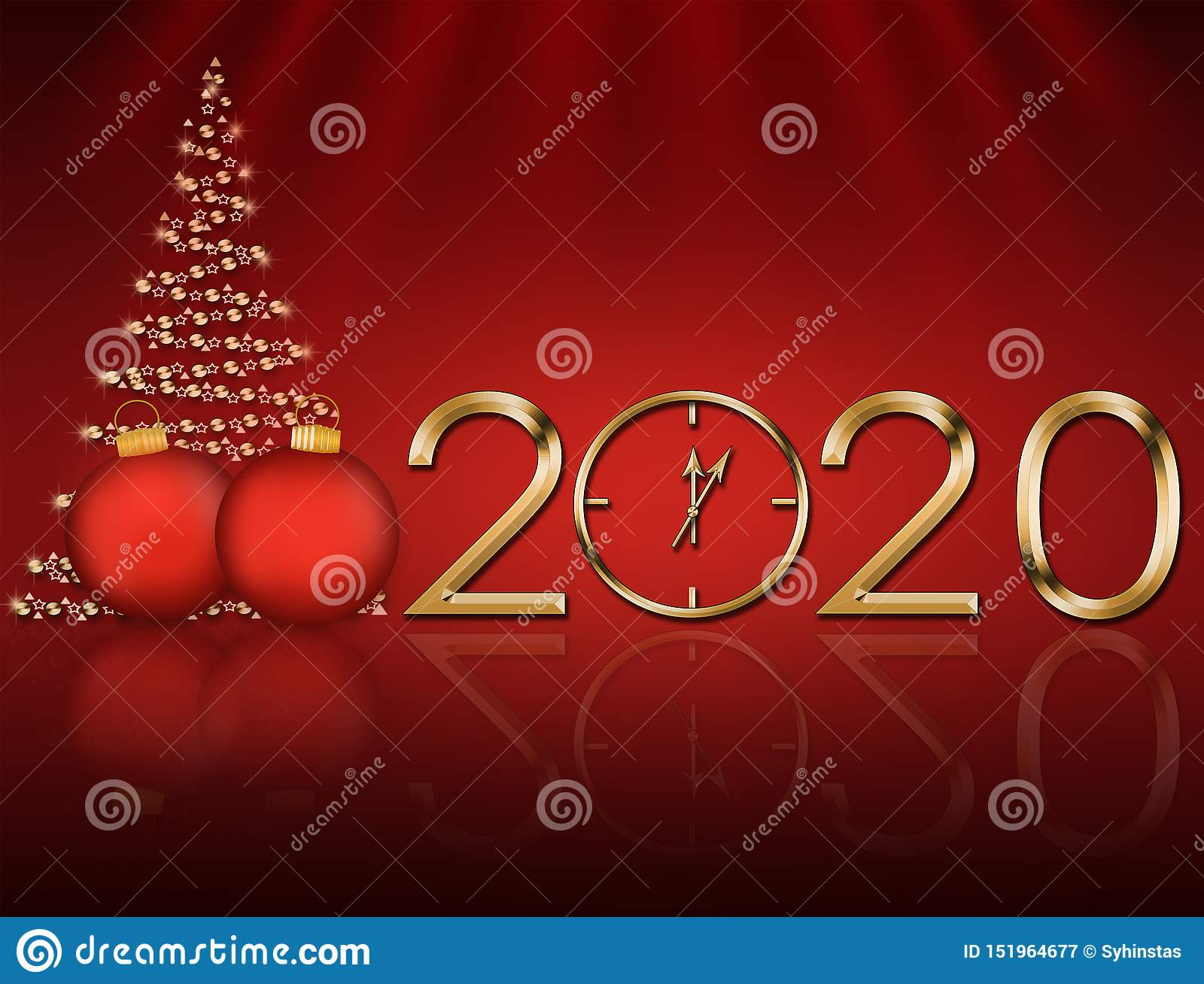 Christmas 2020.Christmas Card 2020 With A Christmas Tree Stock Illustration