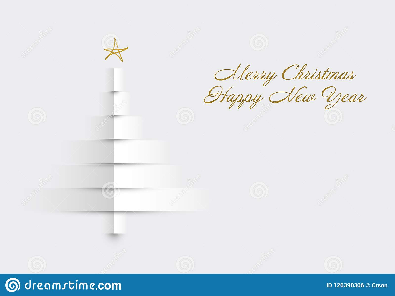 christmas card with tree made from paper stripes stock vector