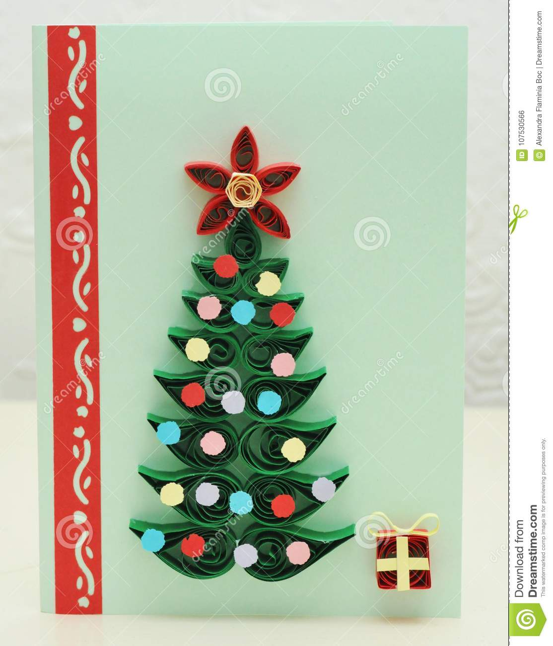 Christmas Tree Quilling Card Stock Photo Image Of Homemade