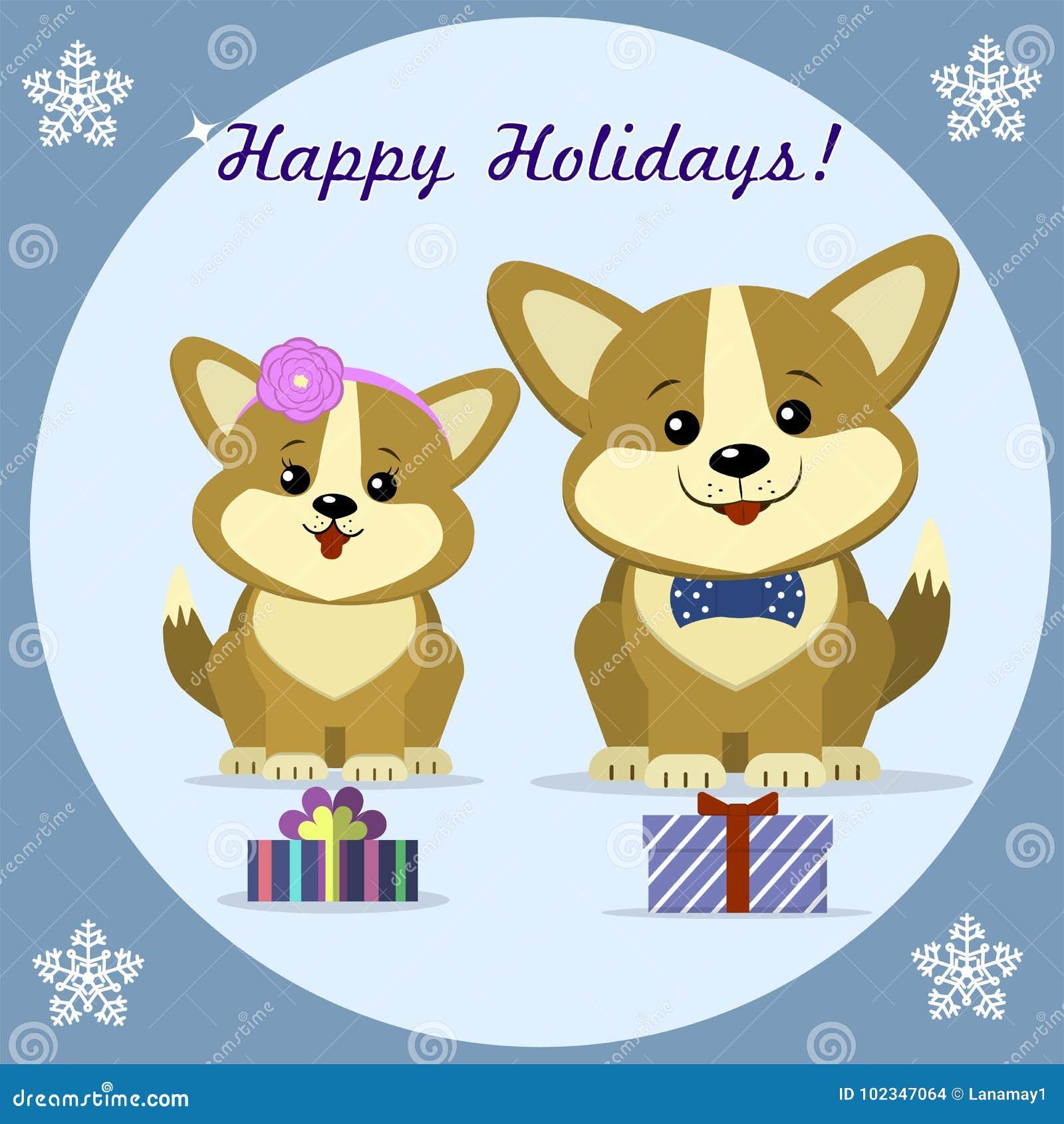 Christmas Card With Two Cute Dog Corgi Stock Vector - Illustration ...