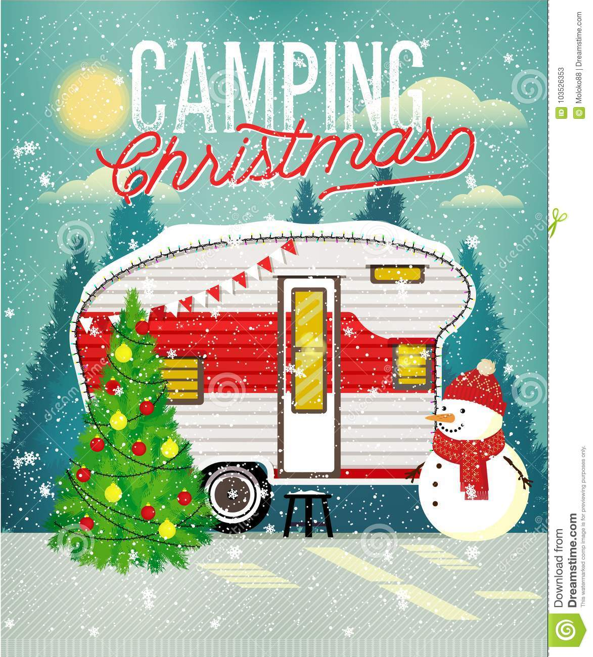 Christmas Card With Winter Camp. Vector Illustration. Stock Vector ...