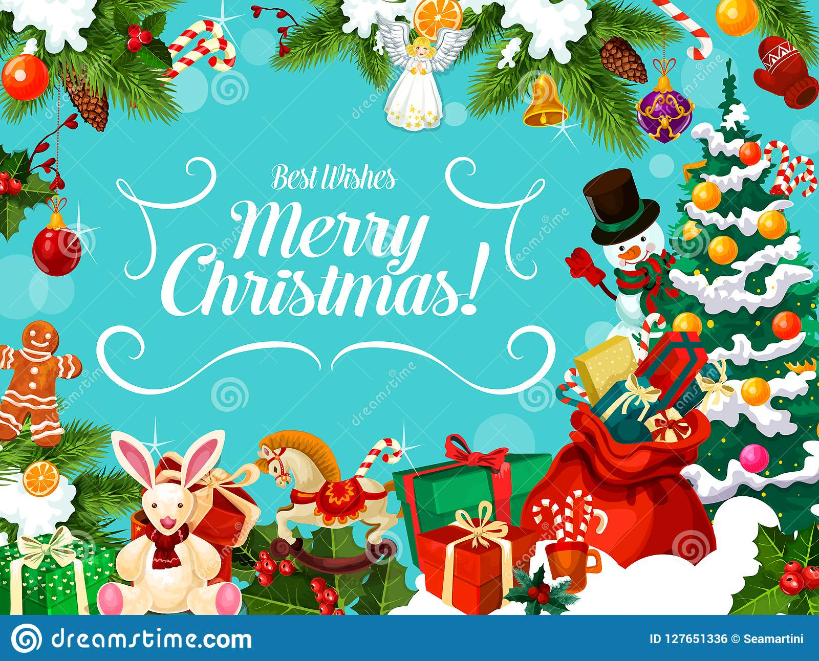 Christmas Card With Winter Holiday Greeting Wishes Stock Vector