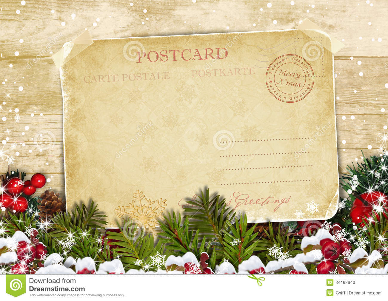 christmas card on a wooden background with decorations