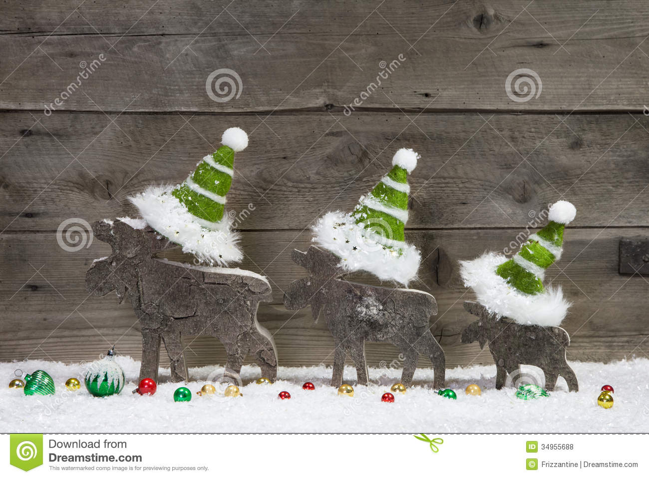 Christmas card with wooden elk or reindeer green white decoration stock photo image 34955688 for Photo decoration