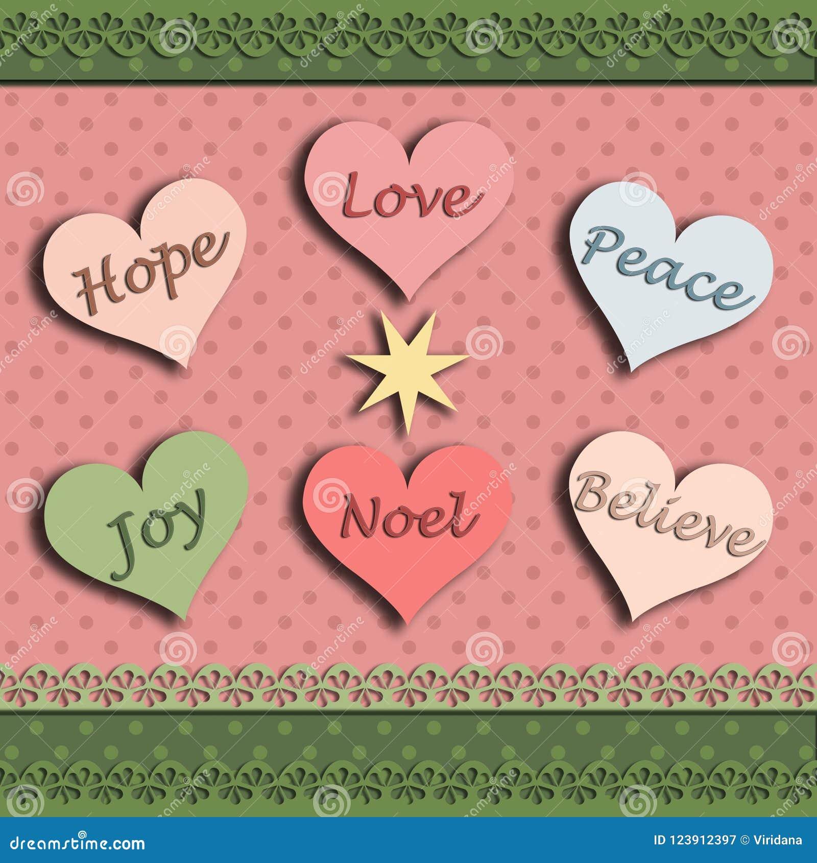 Christmas Card With The Word Hope Joy Love Believe Peace Noel Stock