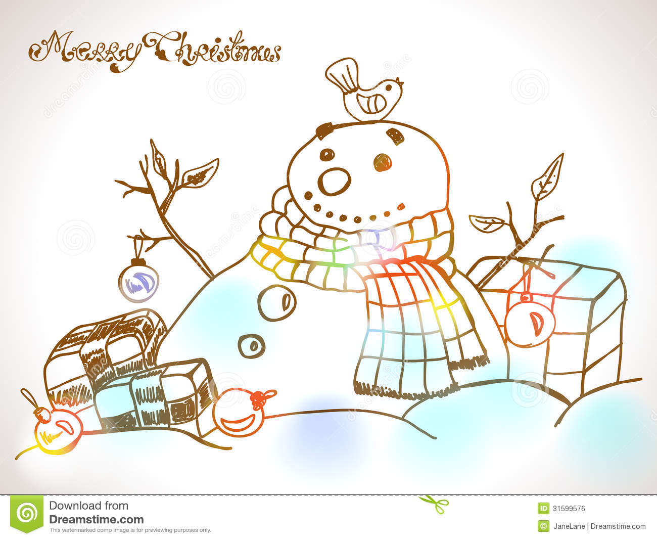 Christmas Card For Xmas Design With Hand Drawn Snowman Illustration ...