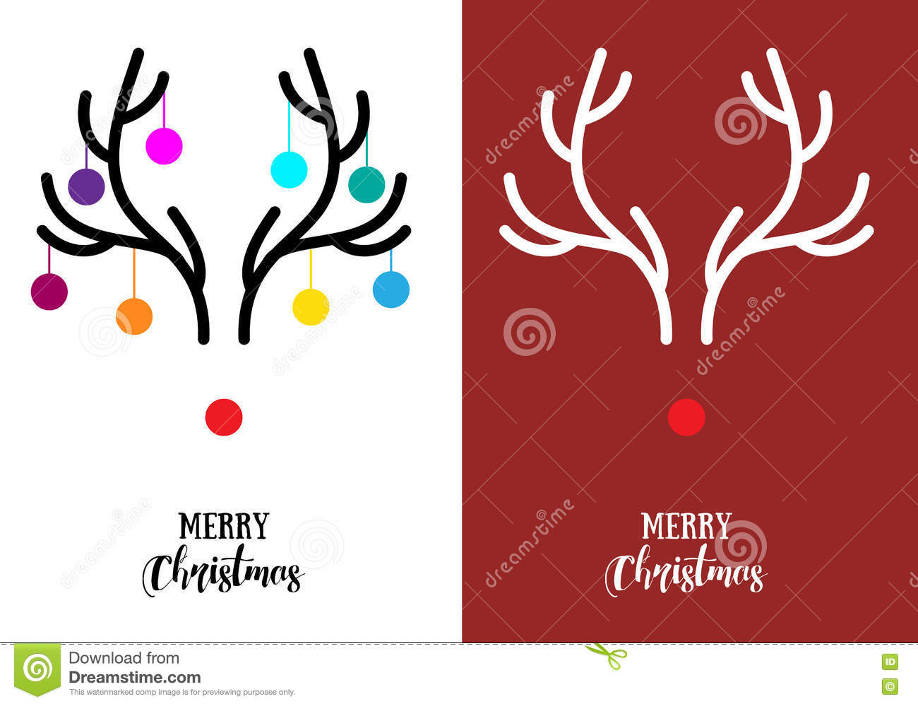 Modern christmas card vector all ideas about christmas and happy christmas cards with antlers vector stock vector image 78922679 kristyandbryce Gallery