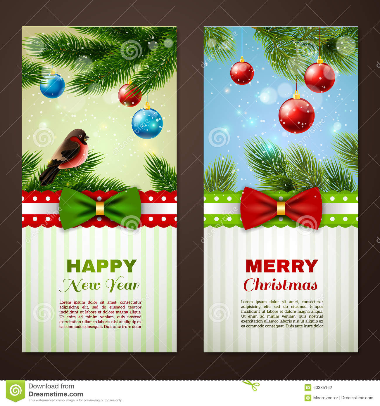 Christmas Cards 2 Banners Set Stock Vector Illustration Of