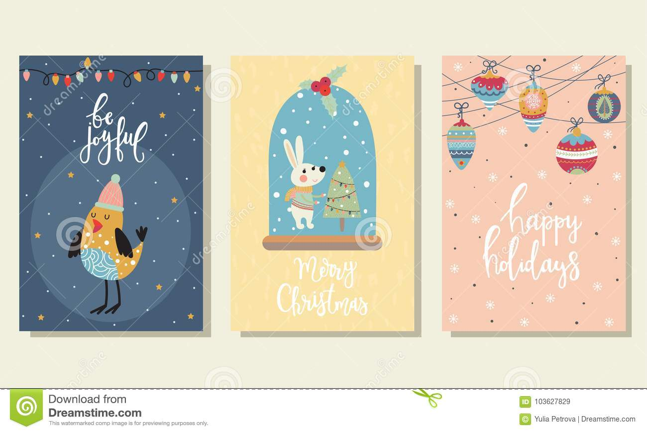 3 Christmas cards stock vector. Illustration of pretty - 103627829