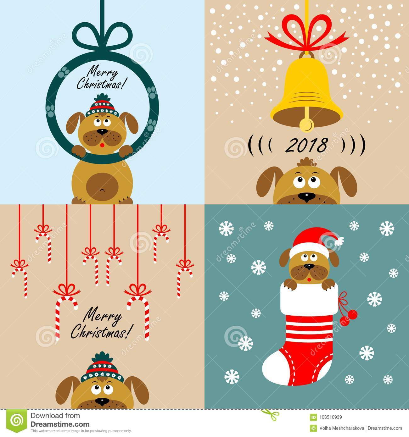 Christmas Cards With Cartoon Dogs Vector Stock Illustration