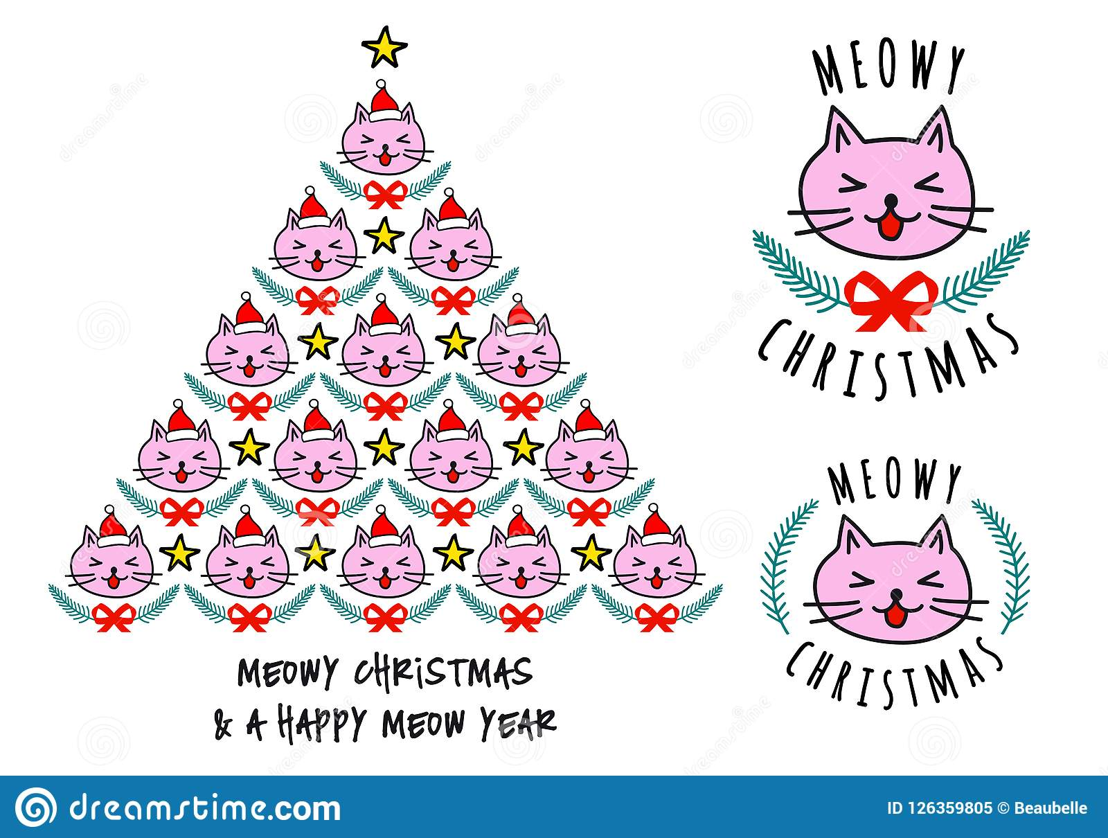 Christmas Cards With Cute Cats, Vector Stock Vector - Illustration ...