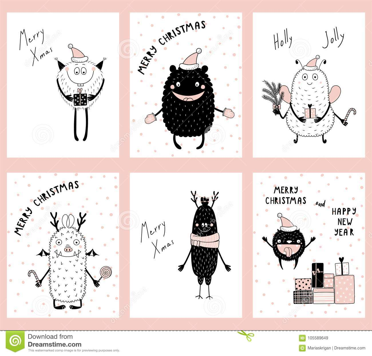 Christmas Cards With Cute Funny Monsters Stock Vector Illustration
