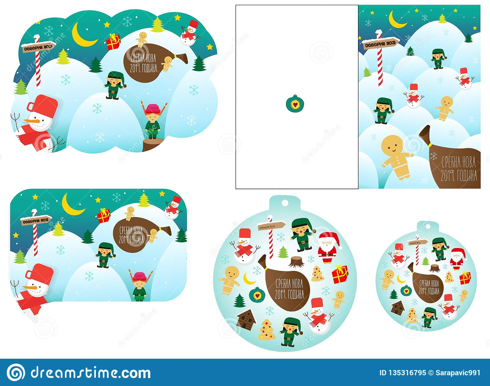 Christmas Cards In Five Variations In Different Shapes And Sizes