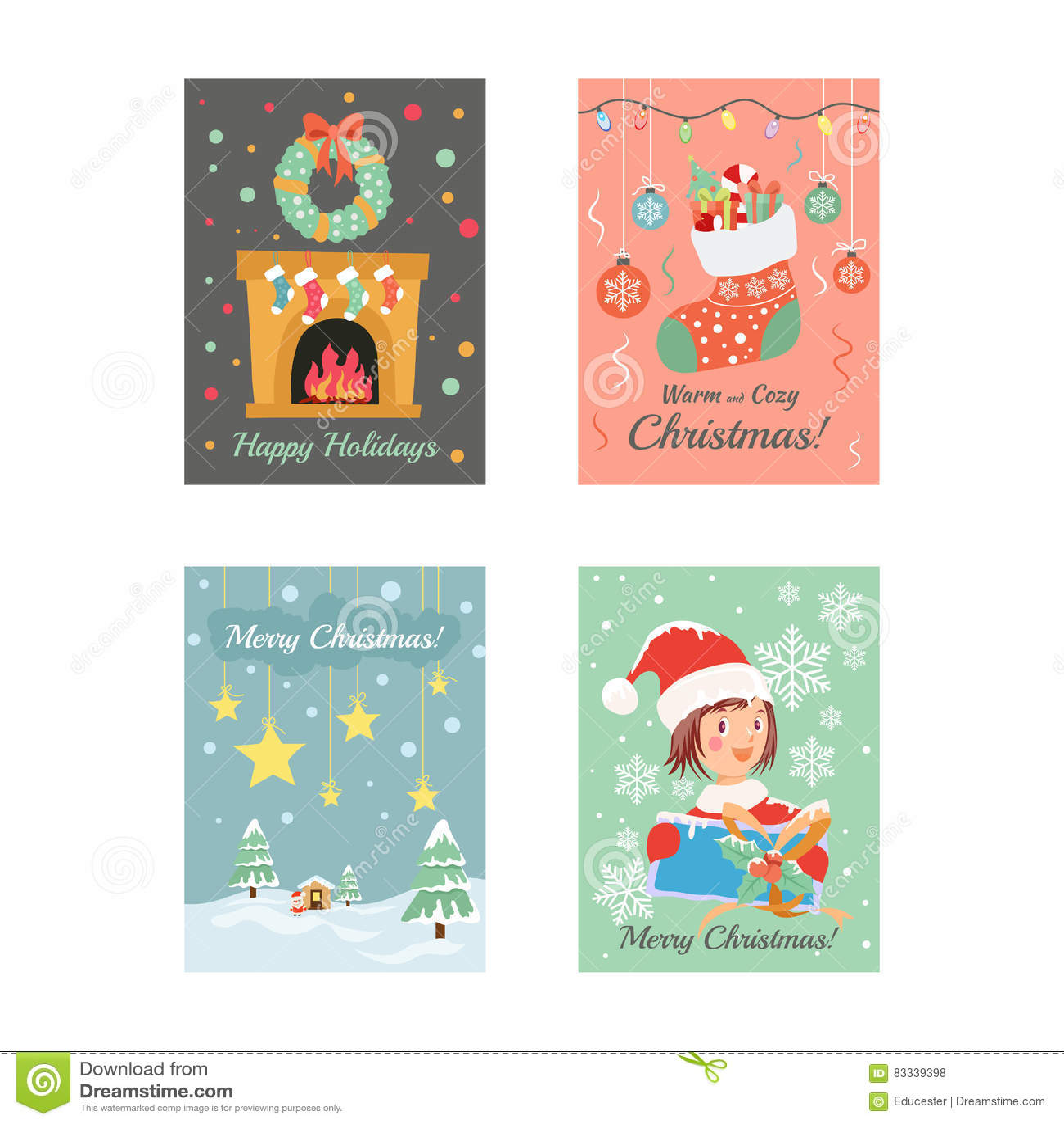 Christmas Cards 8 stock illustration. Illustration of greetings ...