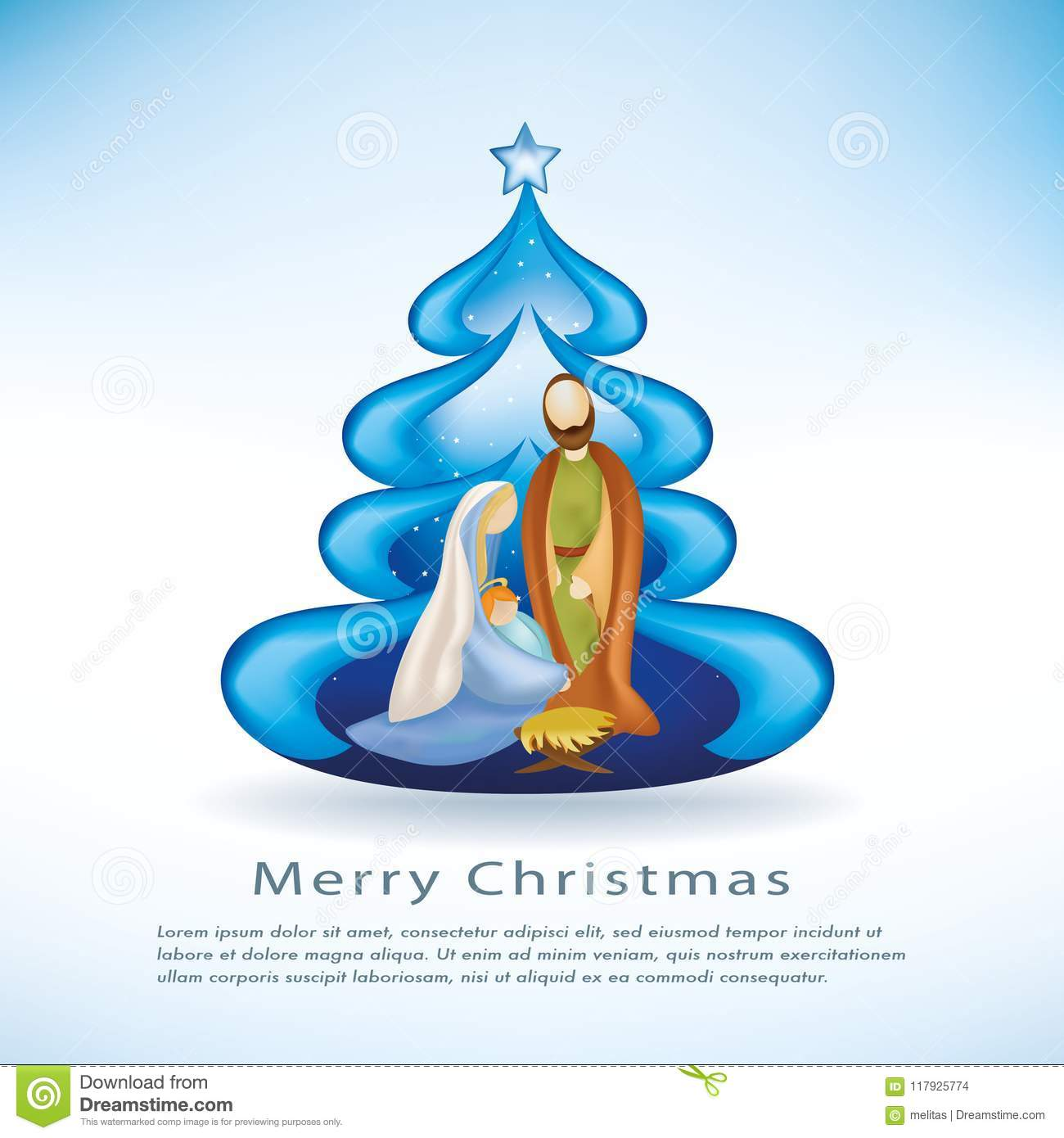 Religious Christmas Cards For Children.Christmas Cards With Nativity Scene Christmas Tree On Blue