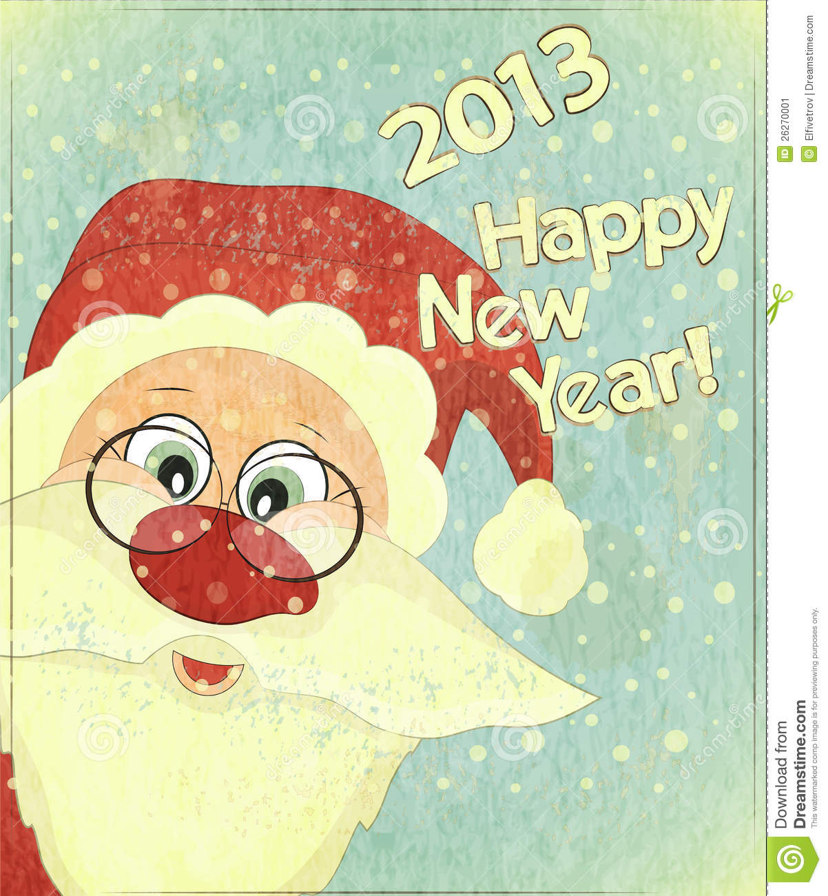 ... with Santa Claus - New Year postcard in Retro style - illustration