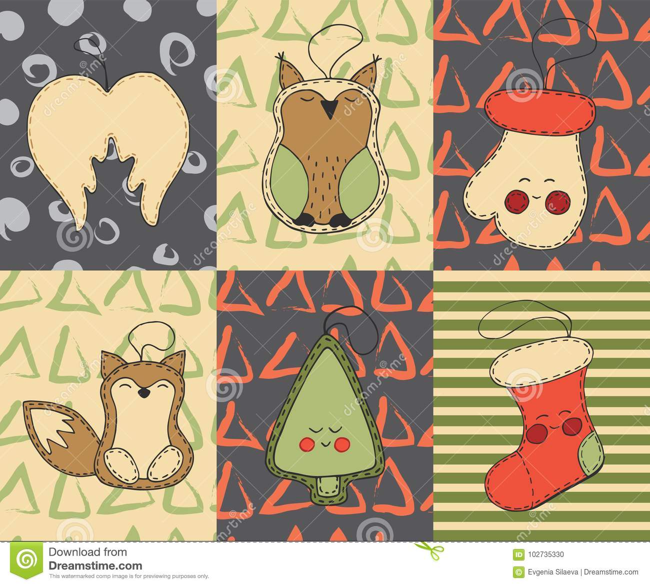 Christmas cards set with cute cartoon xmas toys, angel wings, owl, glove, fox, tree, christmas stocking