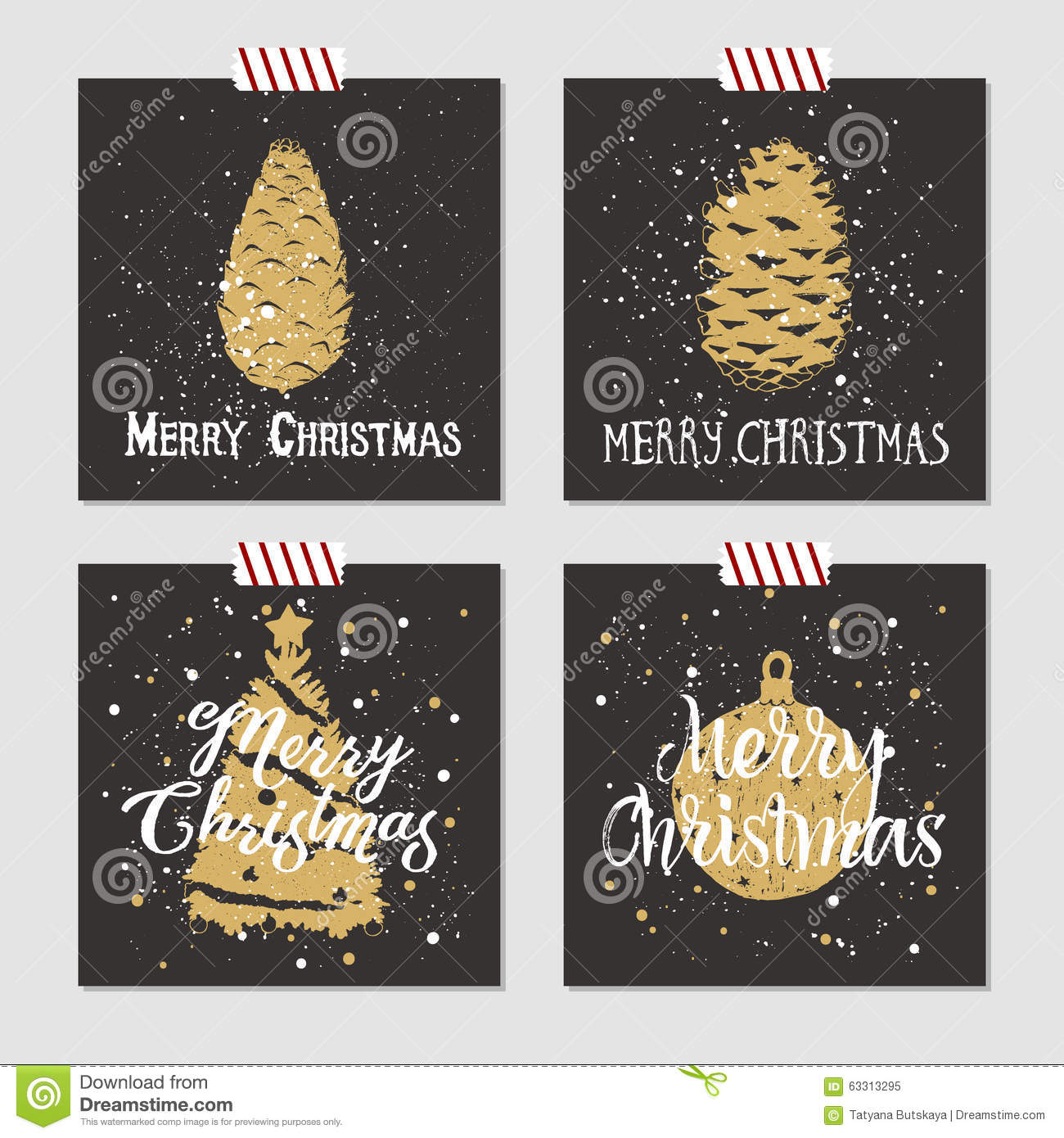 Christmas cards set. stock vector. Illustration of greeting - 63313295