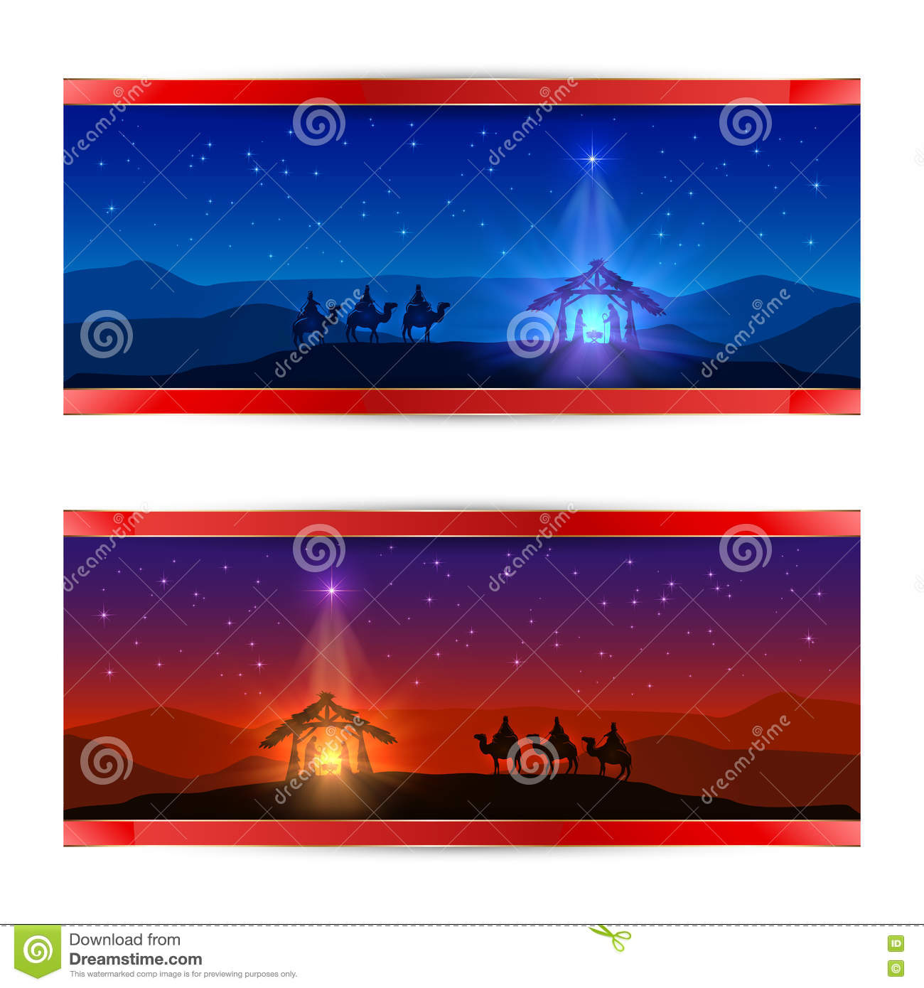 two christmas cards with christmas star birth of jesus and three wise men illustration - Jesus Christmas Cards