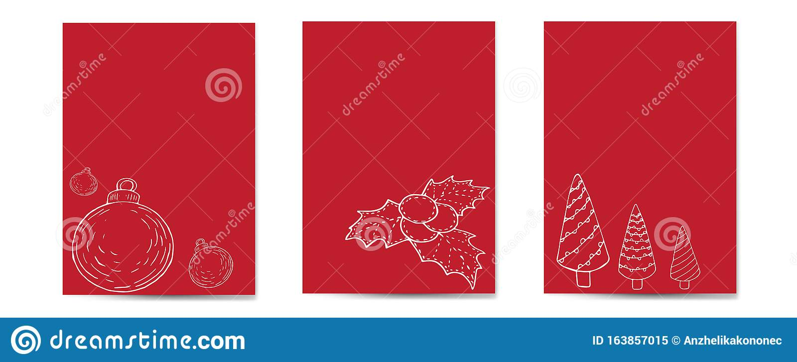 christmas cards vertical set red background with