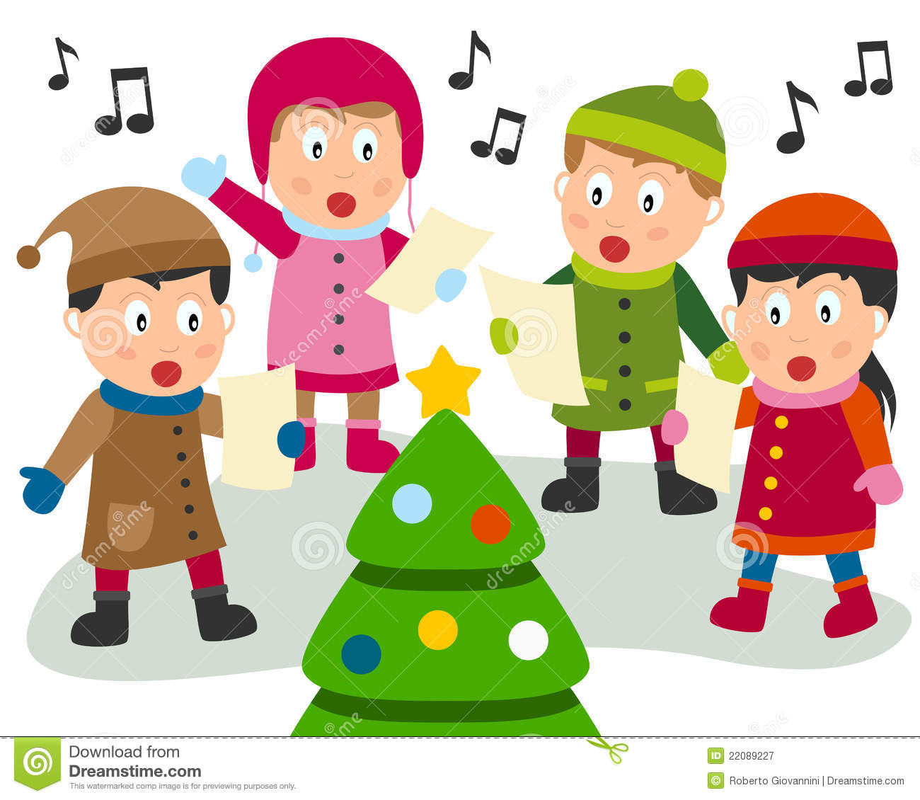 ... carols in front of a christmas tree eps file available mr no pr no 3