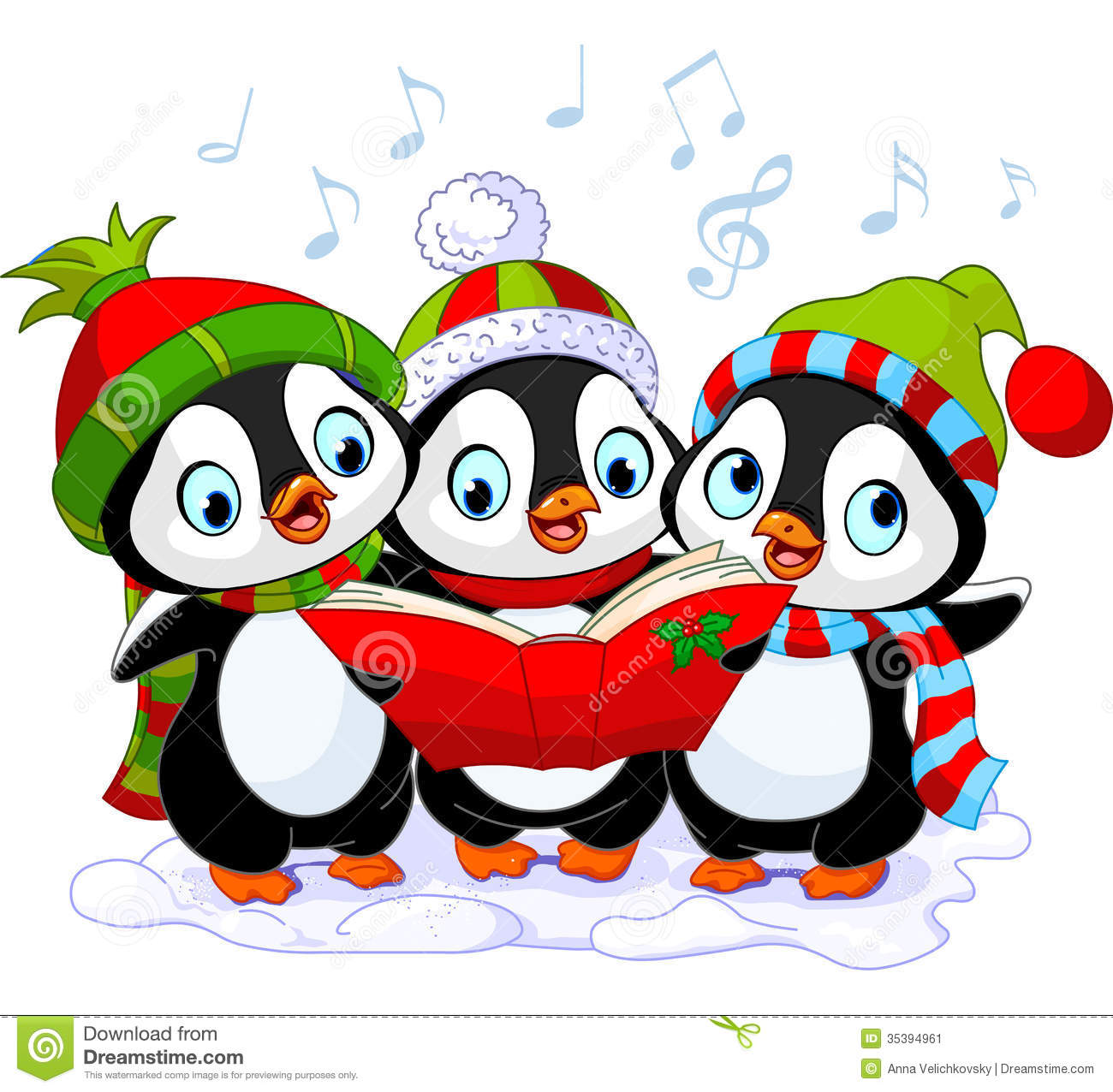 christmas carolers penguins stock vector illustration of penguin