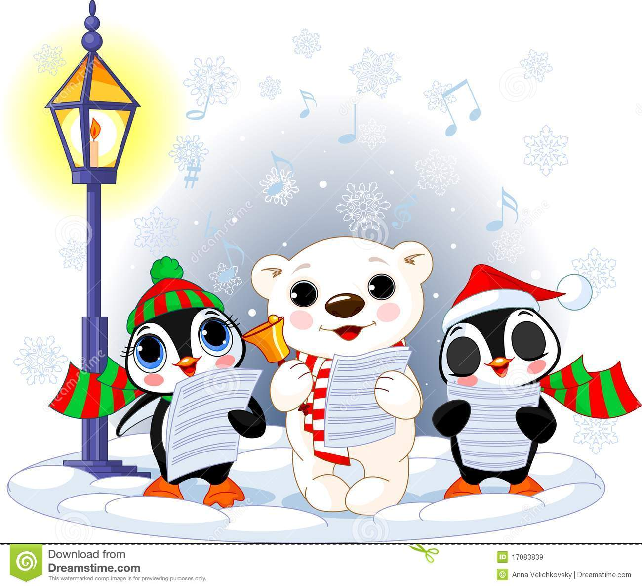 Christmas carolers polar bear and two penguins royalty for Clipart natale free download