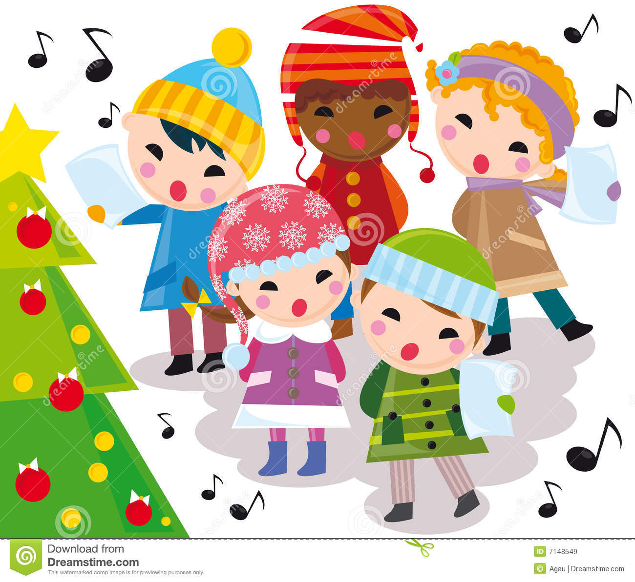 Christmas carols stock vector. Illustration of music, singing - 7148549