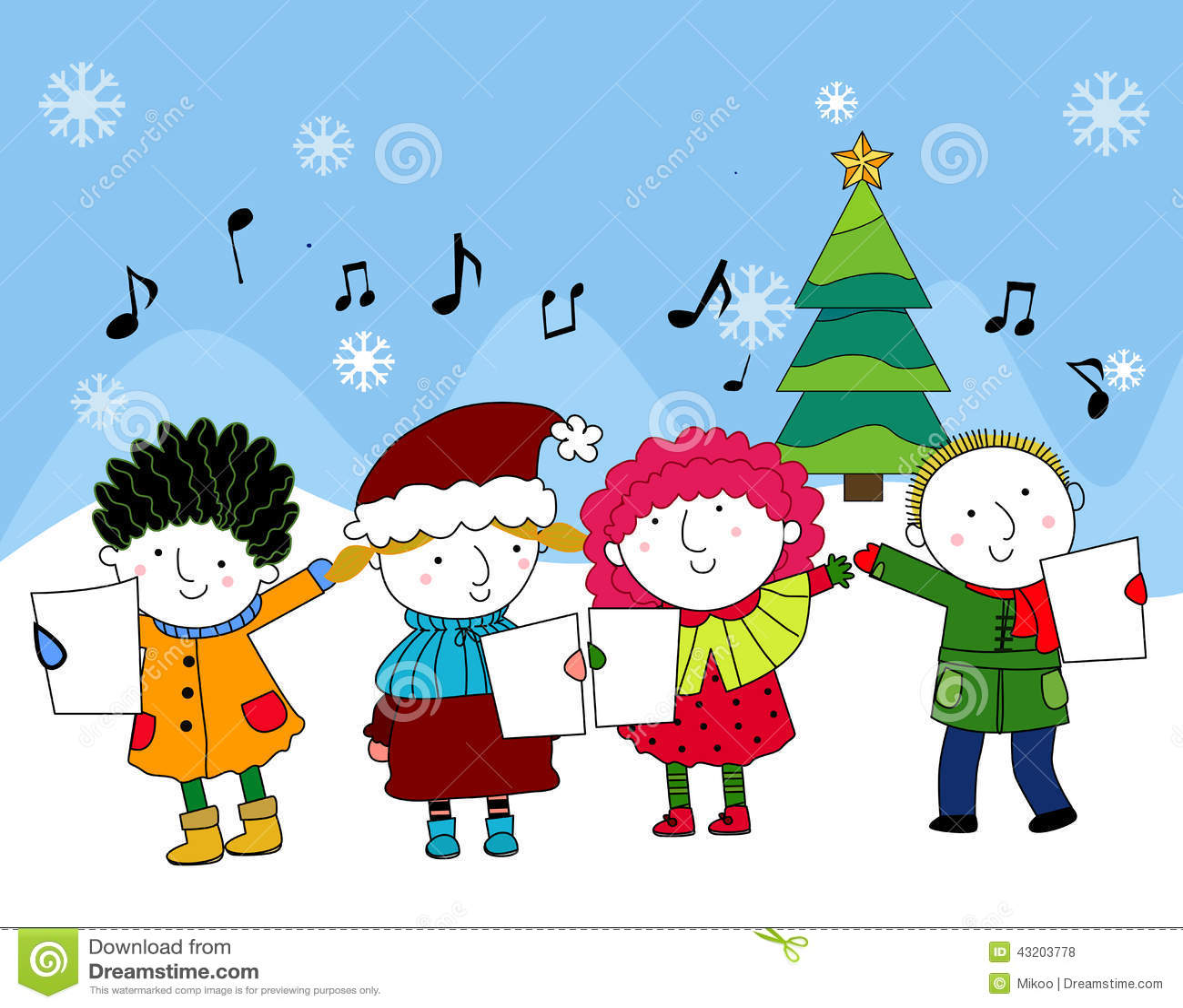 Christmas carols stock vector. Illustration of cartoon - 43203778