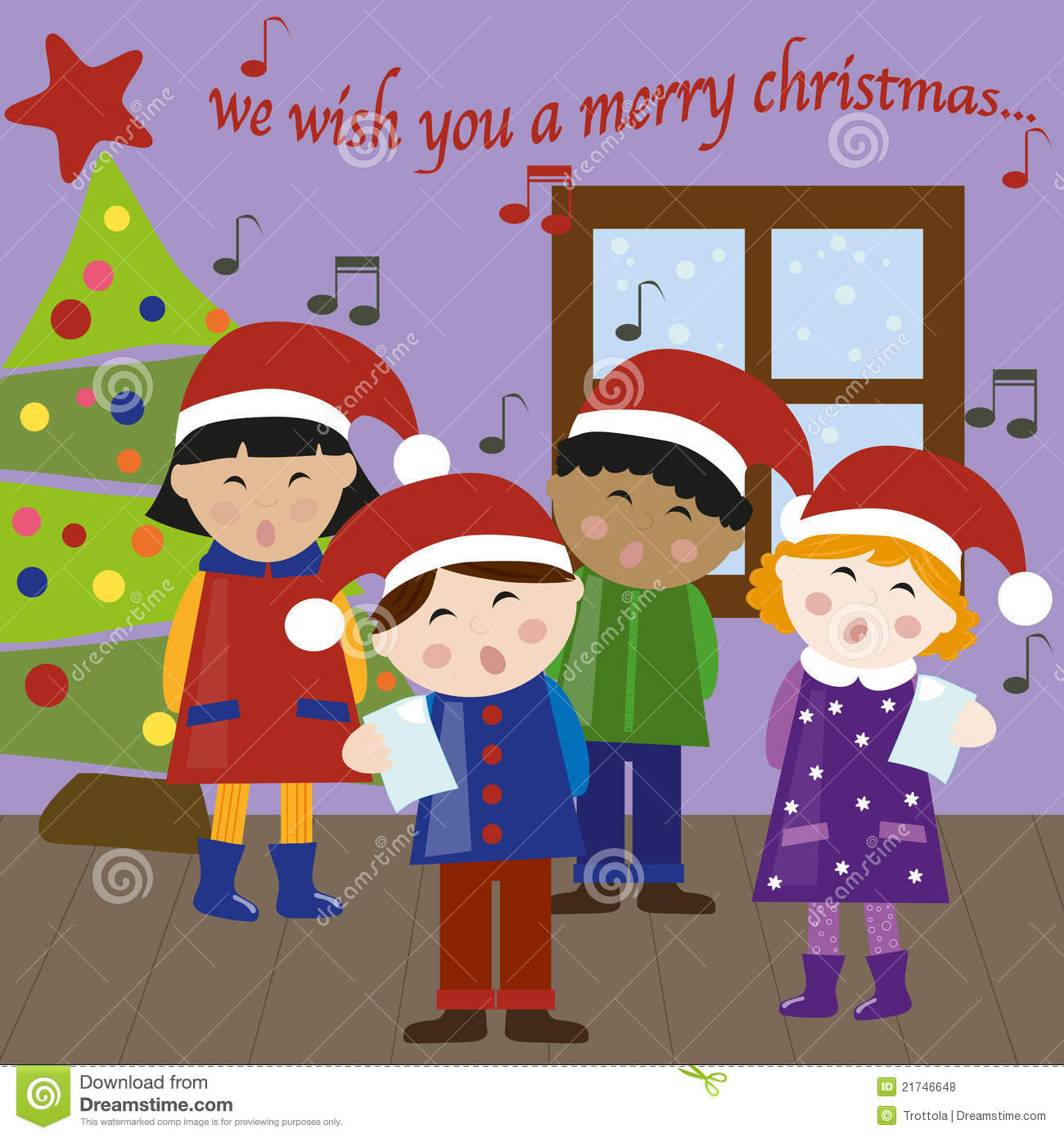 Christmas carols vector stock vector. Illustration of girl - 21746648