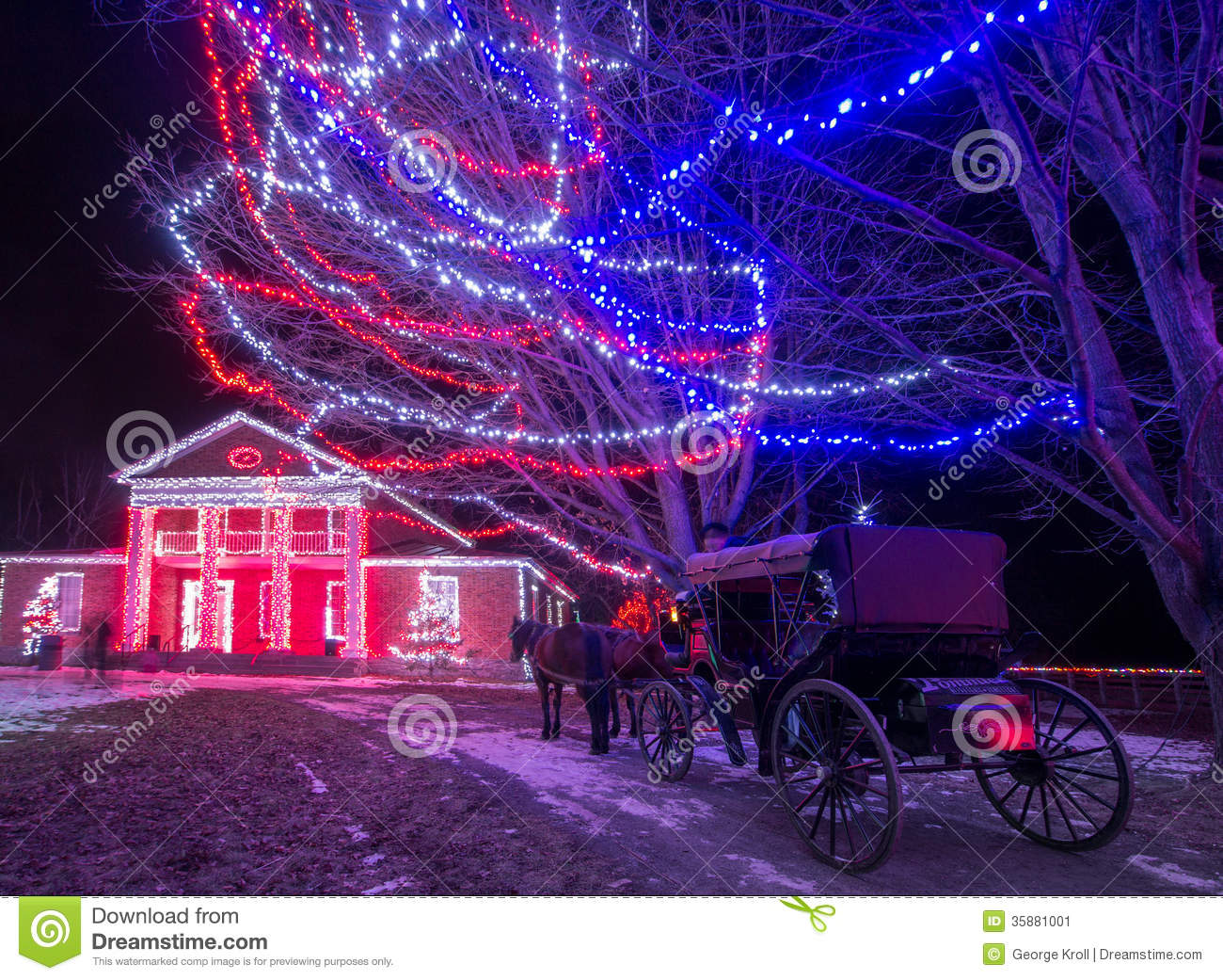 Night lights upper canada village - Christmas Carriage Ride Editorial Photo