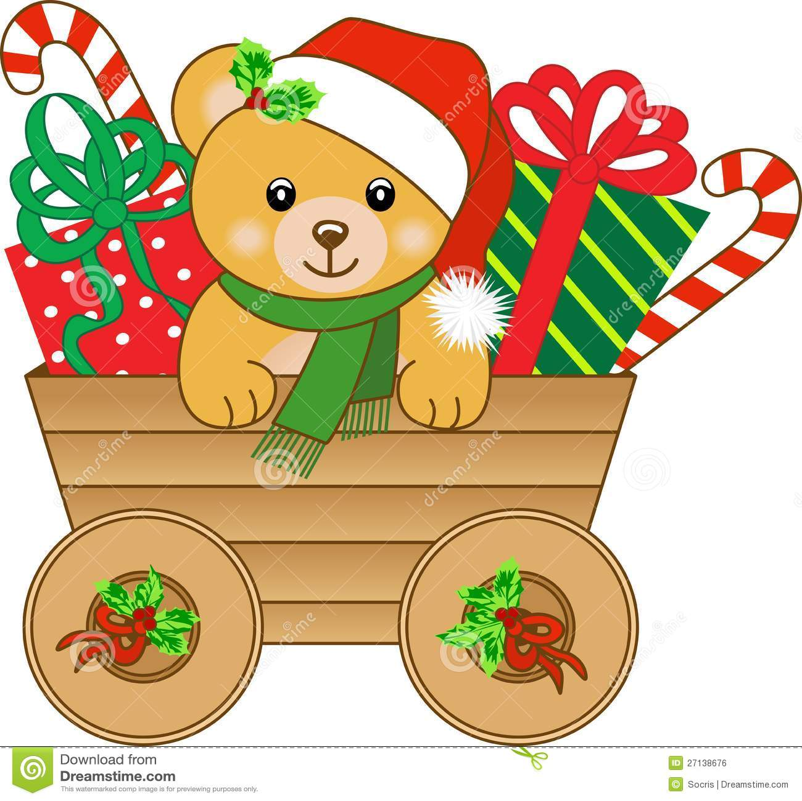 cb1bfaa502 Christmas Cart With Teddy Bear Stock Vector - Illustration of sweet ...