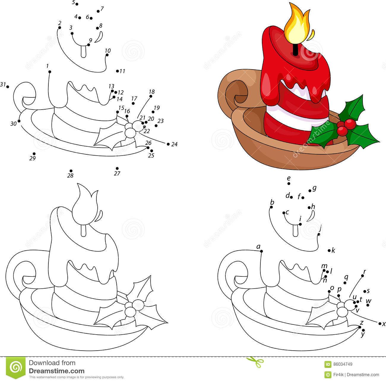 Book Candle Cartoon Christmas Coloring Educational Game