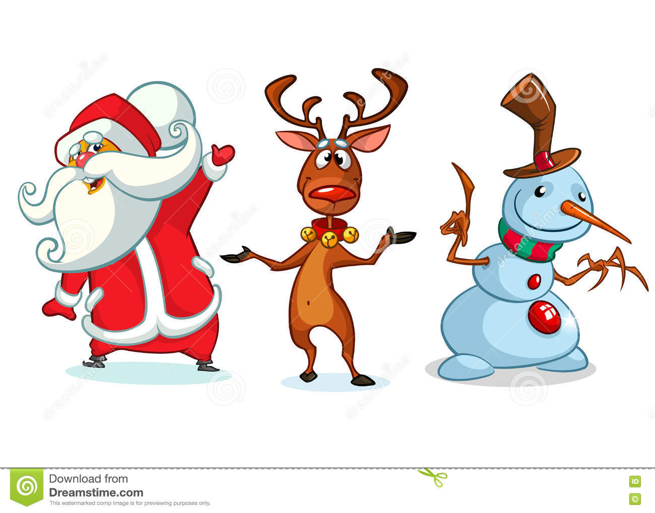 Christmas Cartoon Characters Set. Vector Illustration Of ...