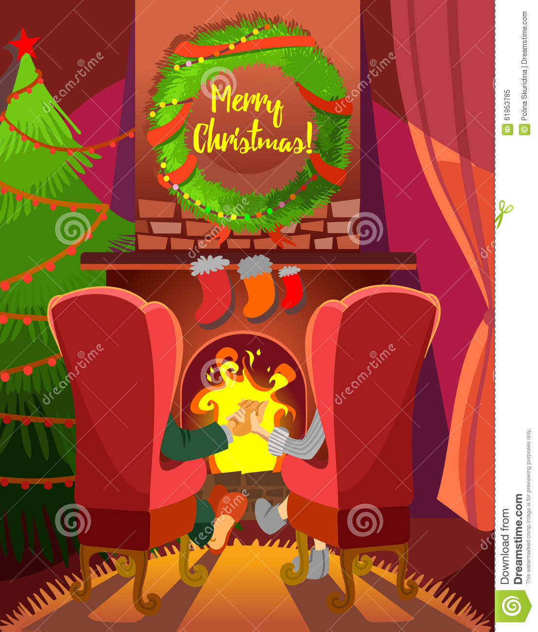christmas cartoon concept with family couple sitting in front of